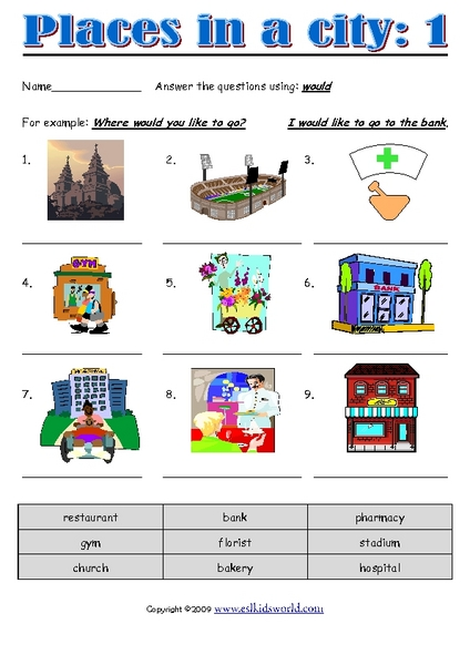 places in a city 1 worksheet for 2nd 4th grade lesson planet. Black Bedroom Furniture Sets. Home Design Ideas