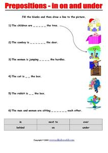 Prepositions - In, on, and Under Worksheet