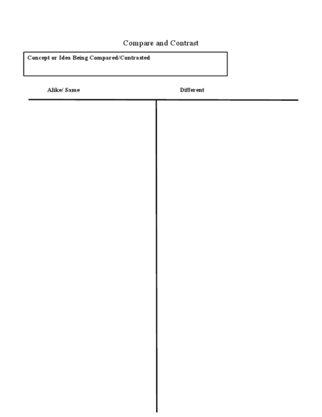 T Chart: Compare And Contrast Worksheet For 3rd   6th Grade | Lesson Planet  Free T Chart