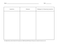 Comprehension Organizer Worksheet