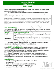 Social Studies Strategies - Pick a Word Worksheet