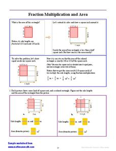 Fraction Multiplication and Area Worksheet