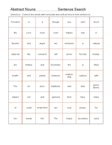 Abstract Nouns: Sentence Search Worksheet