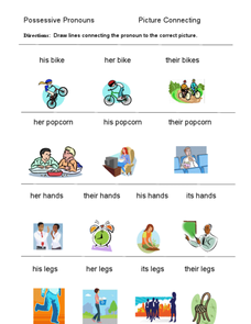 Possessive Pronouns - Picture Connecting Worksheet
