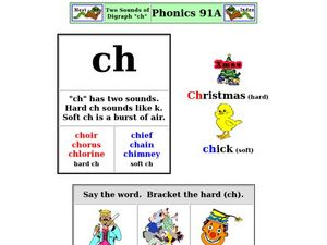 "Two Sounds of Digraph ""ch"" Worksheet"