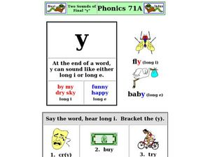 "Two Sounds of Final ""y"" Worksheet"