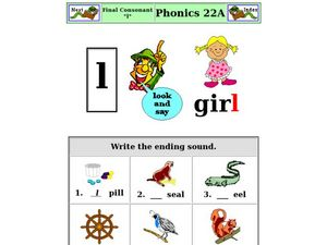 "Final Consonant ""l"" Worksheet"