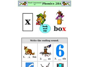 Final Consonant X Worksheet