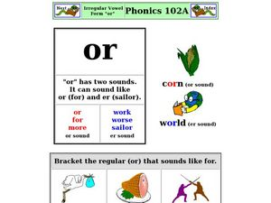 "Irregular Vowel Form ""or"" Worksheet"