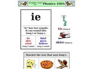 "Irregular Vowel: ""ie"" Worksheet"