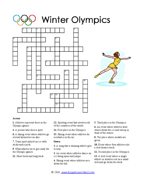 winter olympics crossword puzzle worksheet for 3rd 5th grade lesson planet. Black Bedroom Furniture Sets. Home Design Ideas