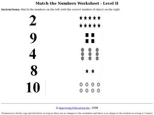 Match the Numbers: Level II Worksheet