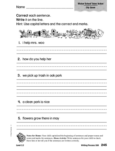 Correct Sentences Worksheet for 1st   2nd Grade   Lesson ...