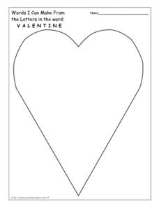 Words I Can Make From the Letters in the word: Valentine Worksheet