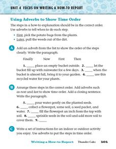 Adverbs and Time Order Worksheet