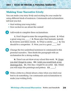 Focus on Writing a Personal Narrative: Making Your Narrative Lively Worksheet