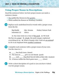 Focus on Writing a Description: Using Proper Nouns in Descriptions Worksheet