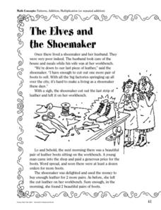 The elves and the Shoemaker: Addition and Multiplications Worksheet