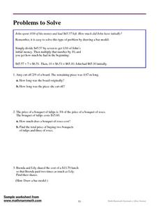 Problems to Solve Worksheet