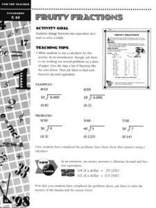 Fruity Fractions Worksheet