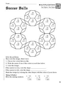 Soccer Balls-Multiplication Worksheet