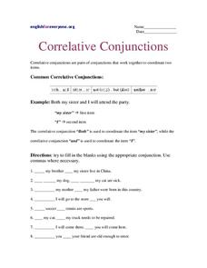 Worksheets Correlative Conjunctions Worksheet correlative conjunctions lesson plans worksheets worksheet