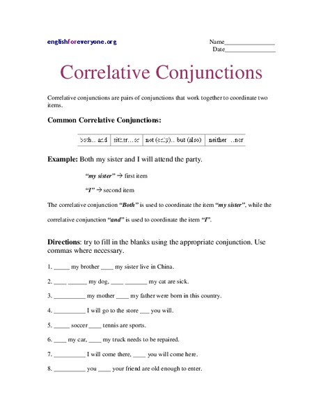 Worksheets Correlative Conjunctions Worksheet correlative conjunction worksheet delibertad conjunctions delibertad