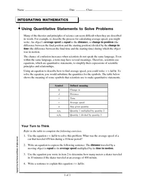Using Quantitative Statements to Solve Problems Worksheet