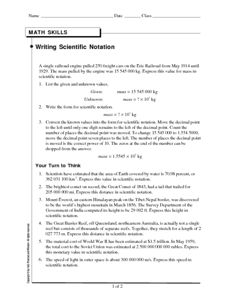 Math Skills Writing Scientific Notation Worksheet For 9th 11th