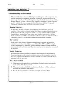 Integrating Biology-Serendipity and Science Worksheet