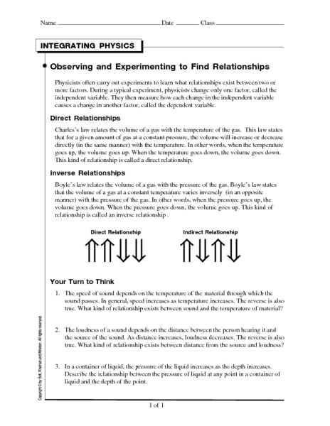 Integrating Physics-Observing and Experimenting to Find Relationships Worksheet