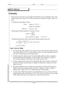 Math Skills-Density Worksheet for 8th - 10th Grade ...