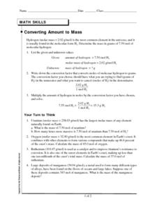 Converting Amount to Mass Worksheet