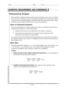 Scientific Measurement and Conversion Worksheet