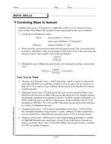 Converting Mass to Amount Worksheet