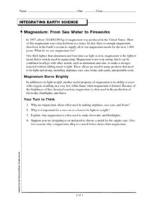 Magnesium: From Sea Water to Fireworks Worksheet