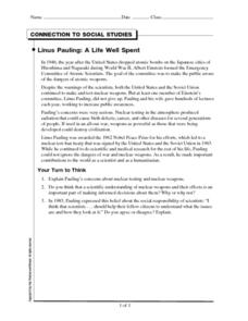 Connection to Social Studies: Linus Pauling: A Life Well Spent Worksheet