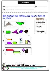 Geometry: Quadrilateral, Triangle, Parallelogram Worksheet