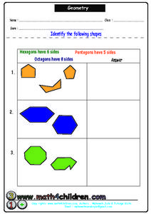 Geometry: Hexagons, Octagons, Pentagons Worksheet