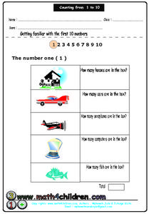 Counting From 1-10: The number 1 Lesson Plan