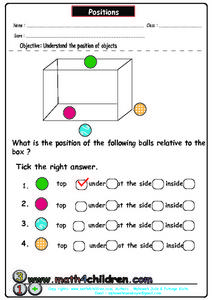 Positions - Understanding the Positions of Objects Worksheet