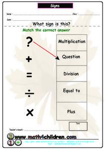 signs math symbols worksheet for pre k lesson planet. Black Bedroom Furniture Sets. Home Design Ideas
