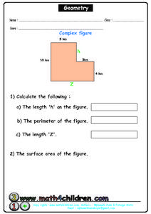Geometry - Complex Figure Worksheet