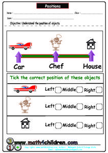 Understanding The Position of Objects Worksheet