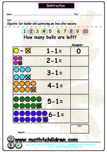 Subtraction - How Many Balls are Left? Worksheet