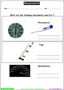 Measurements (What Are the Instruments Used For?) Worksheet