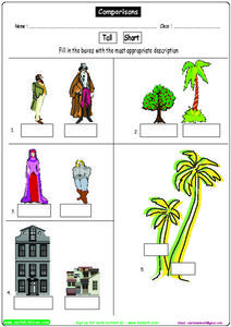 Comparisons #6: Tall or Short? Worksheet