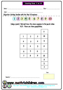 Counting From 1 to 10, #2 Worksheet