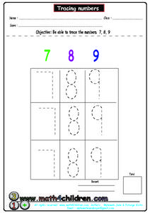 Tracing Numerals 7, 8 and 9 Worksheet