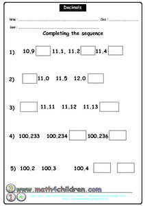 Decimals - Complete the Sequence Worksheet